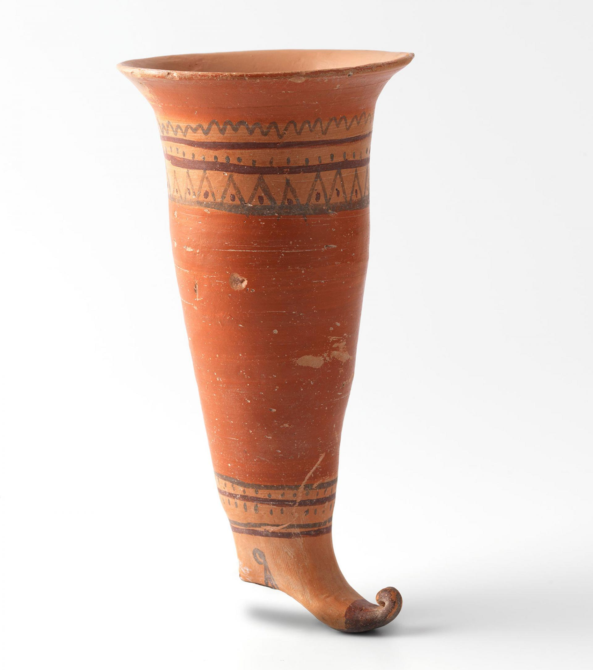 SHM 6455 - Boot shaped rhyton Terracotta Late Iron Age, Lydian 6th century BC Inland Western Anatolia